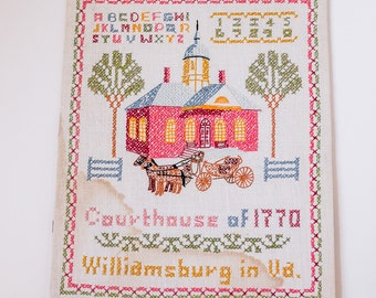 Adorable Vintage Colonial Williamsburg Cross Stitch Sampler on Linen