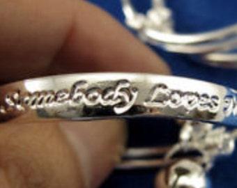 Silver Plated Somebody Loves Me Bells Adjustable Baby Bangle Bracelet