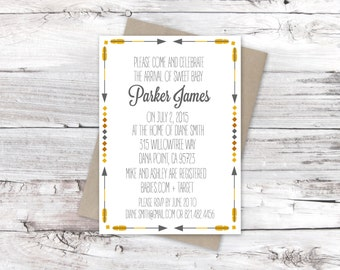 Baby Shower Invitation- Yellow and Grey Arrows