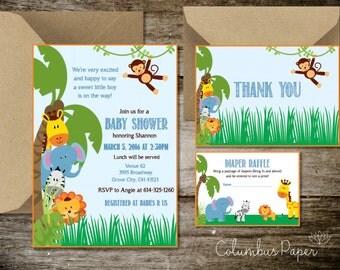 Printable Jungle Baby Shower Invitation Kit (Digital File)