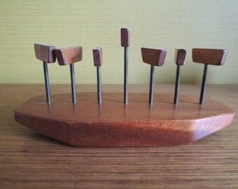 Vintage Original 60s Teak Wood Toast Stand / Letter Memo Stand / Mid Century