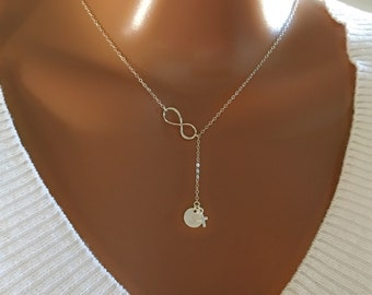 Sterling silver necklace, Sterling silver infinity lariat  with initial disc and tiny cross charm, personalized monogram letter