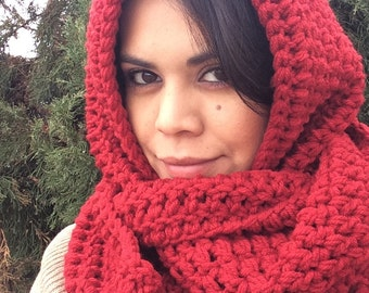 Women's Hooded Scarf, Infinity Scarf, Chunky Crochet Scarf, Winter hooded crochet long Scarf, Berry Red scarf.