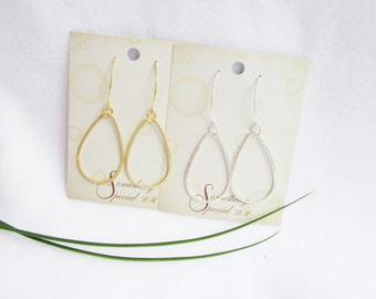 Teardrop Earrings In Gold and Silver