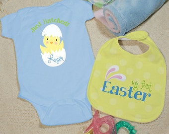 Baby's First Easter Blue Personalized Creeper & Bib , Personalized Easter Onesee and Bib Set