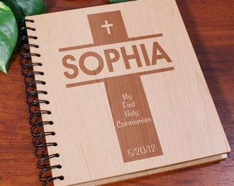 First Communion Wood Photo Album, First Communion Gift, Engraved Communion Photo Album
