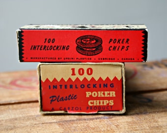 Two Sets of Vintage Plastic Poker Chips in Cardboard Boxes
