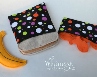 Polka Dot sandwich bags, Halloween,  Lunch set, reusable sandwich bag, reusable snack bag, ecofriendly lunch set