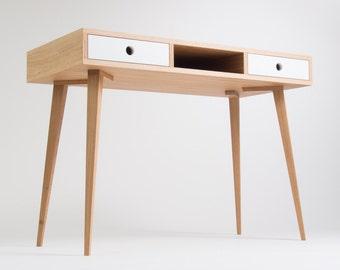 Work desk, computer desk, office desk, mid century, two white drawers, scandinavian design