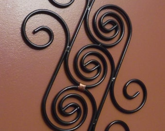 Handmade Black Hammered Finish Metal Scroll Wall Art with Copper