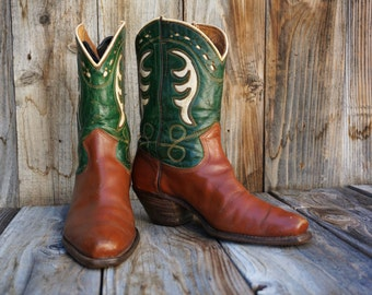 Vintage 1950s Peewee Cowgirl Boots, Acme Brown Leather with Green and Beige Inlays, Women's size 7