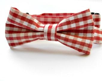 Cambridge Bow Tie, necktie, bow tie for boys, bow tie for babies, red gingham, gingham bow tie, red gingham bow tie