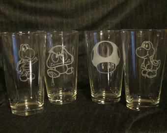 Super Mario Pint Glass Set of 4-10, Many Designs to Choose From
