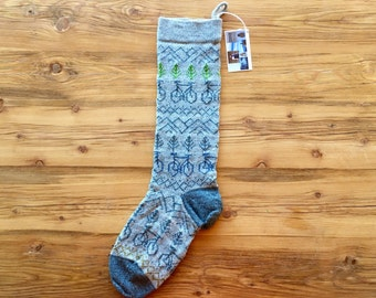 Wool Christmas Stocking with Bicycles