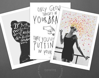 Postkarten Set No. 9 / Think, Brainflowers, Inspire Me, Card, Postcard, Set, Greeting Card, Envelope, Present, Message, Letter