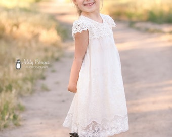 Ivory cream flower girl dress, lace flower girl dress, baby girl dress, french summer dress, girl dress, lace dress,toddler dress size 2T-10