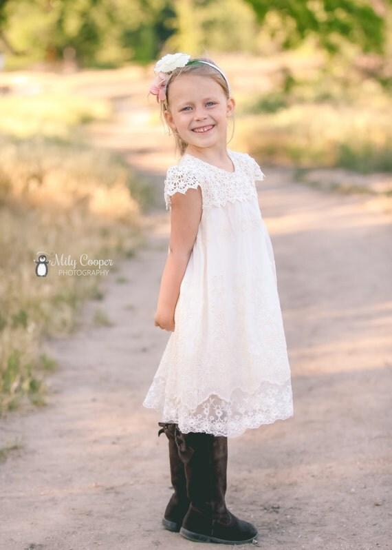 Ivory cream flower girl dress lace flower girl dress baby