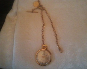 Mortima 17 Jewel Pocket Watch with Gold Filled Chain & Medallion-Swiss made