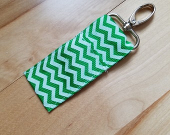 Green Chevron Keychain Chapstick Holder
