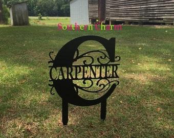 Yard Sign, Metal Yard Sign, Monogram, Wedding, House Warming, Engagement