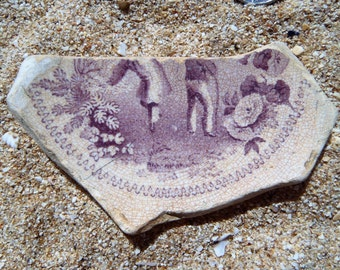 A delightful pottery shard from the River Thames featuring some gallivanting!