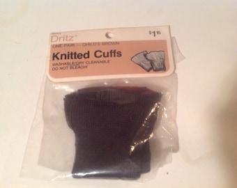 Knit Brown Cuffs (2) child size