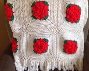 Vintage, Red Roses Granny Square Afghan, cottage, shabby chic, country, farm house