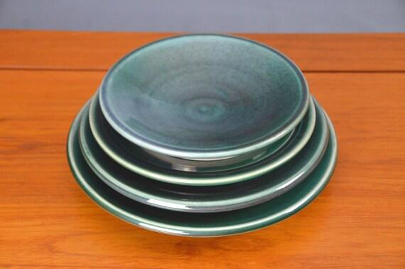 Green Ceramic Plate Set Hand Thrown Porcelain Pottery Dinner