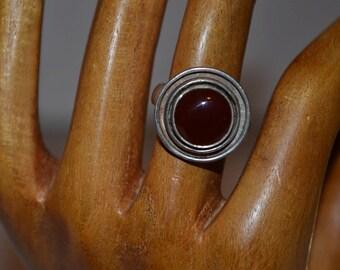 Vintage sterling silver handmade carnelian ring/silver ring/vintage ring/carnelian ring/handmade ring/an.720