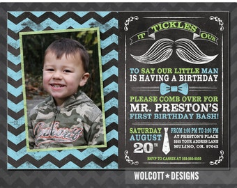 Little Man birthday Invitation - Mustache Invitation - Chalkboard - First Birthday - Photo