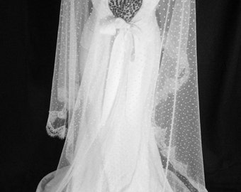 Poppy Veil - Swiss Dot Cathedral Mantilla Length Veil with Chantilly Lace