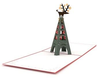 Reindeer Eiffel Tower Christmas Card, Paris Christmas Card, Pop Up Christmas Card, Pop Up Paris Card, Pop Up Christmas Card