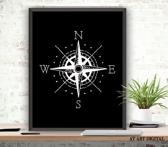 White Nautical Wall Decor : Compass print wall art home decor nautical black