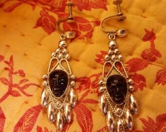 Incredible Mayan or Aztec mask sterling earrings.