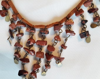 Dangling Mahogany Obsidian Beaded and Leather Necklace