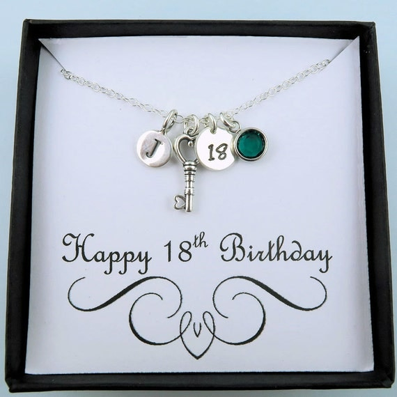 18th Birthday Necklace Sterling Silver Custom Birthstone: Personalized 18th Birthday Necklace With By CrystalSongJewels