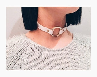 White leather choker with gold details