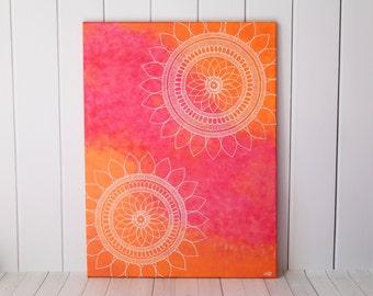 Mandala Art - Henna Art - Sunflower Mandala Painting - Sunflower Art - Mandala Decor - Modern Home Decor - Unique Painting