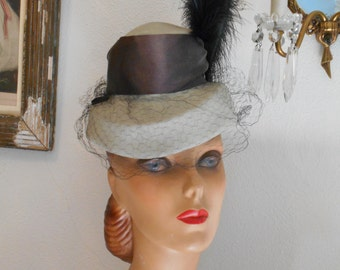 Awesome 1940's Gray Felt Tilt Hat with High Crown and Feather