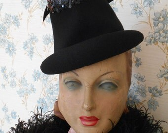 Awesome 1940's Black Felt Tilt Hat with Sequins and Bow
