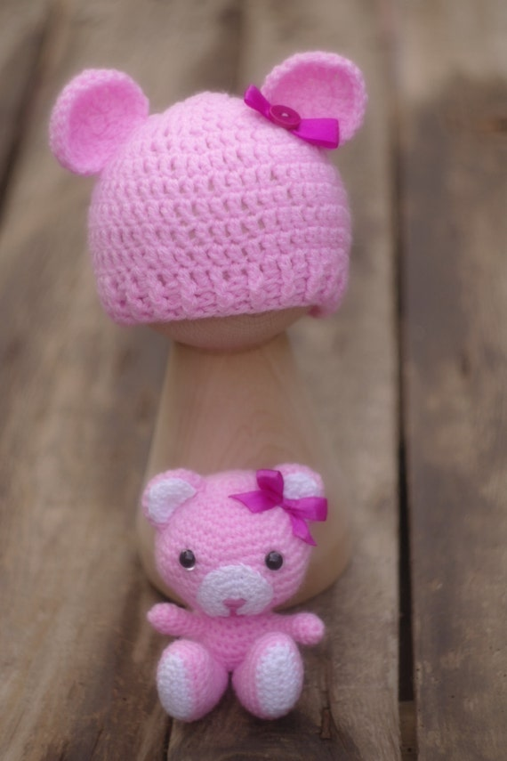 Amigurumi Pink Bear : Amigurumi pink teddy bear and bear Hat set Crochet teddy bear