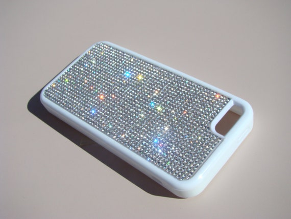 iPhone 5C Clear Diamond Crystals on White Rubber Case. Velvet/Silk Pouch Bag Included, Genuine Rangsee Crystal Cases.