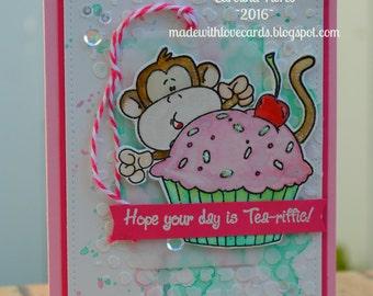 Whimsical Birthday Card, Happy Birthday Card, Monkey Birthday Card