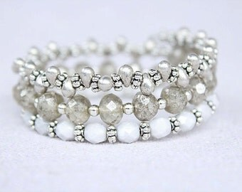 Silver and white beaded bracelet silver beaded stretch bracelet memory wire bracelet silver beaded wrap bracelet stacked beaded bracelet