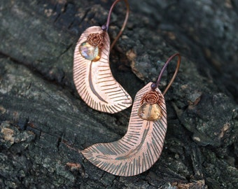Funny simple earrings with citrine Feather