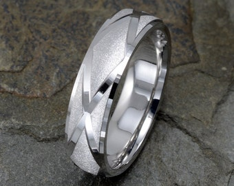Gold Wedding Band, Brushed, wedding ring, solid gold mens band, mens ring, women's wedding ring, 14k White Gold Mens Ring, Wedding Band Mens