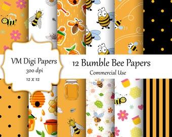 Bee Digital Paper, Bumble Bee Paper, Honey Bee, Bumble Bee, Background Honey Comb , Digital Paper, Honey Comb Background, #3894