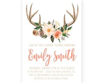 Bridal Shower Invitation, Antler, Rustic, Watercolor Flower, Printable Invitation (590)