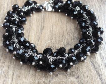 Black beaded cluster bracelet, chunky beaded bracelet, black beaded charm bracelet