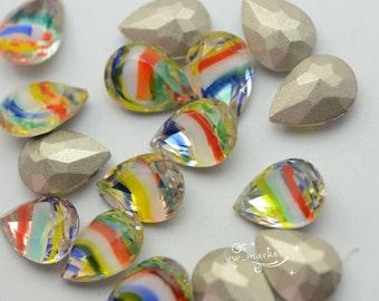 30 PCS 10mm x 14mm Tear Drop Glass Faceted Glass Jewels Vitrail Color